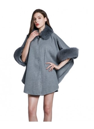 Cashmere Wool w / Fox Fur Wrap Cape Poncho Gray Women's