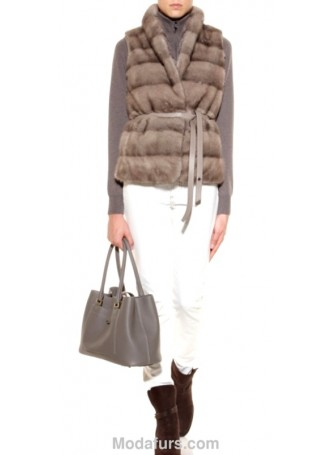 Mink Fur Vest Women's Natural Blue Iris