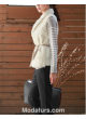 Mink Fur Vest with Cashmere Wool Women's Natural Pearl Women's