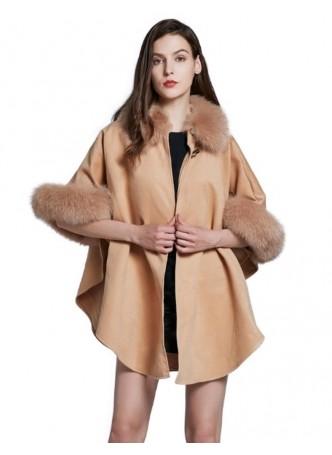 Cashmere & Wool w / Fox Fur Wrap Cape Poncho Caramel Women's