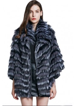 Knitted Silver Fox Fur Cape Coat Jacket Women's