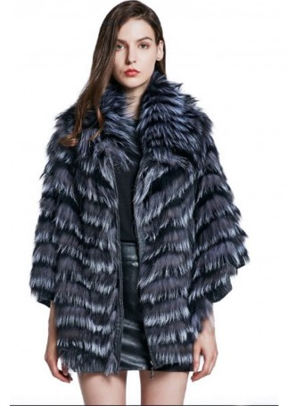 Knitted Silver Fox Fur Cape Coat Jacket Women's