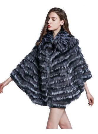 Knitted Fox Fur  Silver Cape Coat Jacket Women's