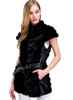 Mink Fur Coat Vest Jacket Black with Leather Trims Women's
