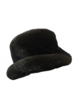 "Mink Fur Hat Natural Dark Ranch Black Fedora Size 24"" Man Men's"