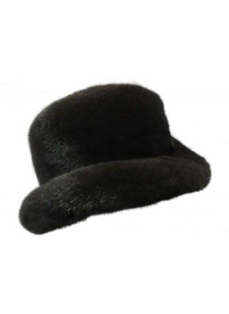 "Mink Fur Hat Natural Dark Ranch Black Fedora Size 24"" Man Men's"