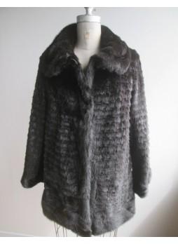 Men's Mink Fur Coat Jacket Black
