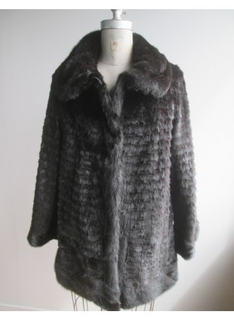 Men's Mink Fur Coat Jacket Black