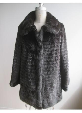 Mink Fur Coat Jacket Black Sz 6 Women's