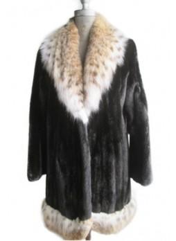 Mink Fur Black Coat Jacket Female AMERICAN LEGEND with Lynx Fur Women's