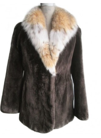Beaver Sheared  Fur Coat Jacket with Lynx Fur Collar Women's