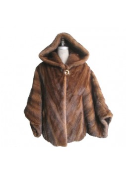 Mink Fur Natural Dark Pastel Cape Jacket Coat Poncho with Hood Women's One Size Fits All