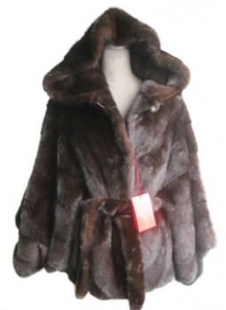 Mink Fur Natural Dark Ranch Cape Jacket Coat Poncho with Hood Women's One Size Fits All