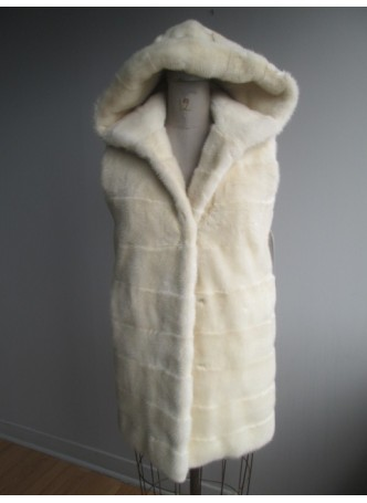 Mink Fur Vest with Hood  Women's Natural Pearl