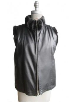 Mink Fur Vest with Black Leather Reversible Women's