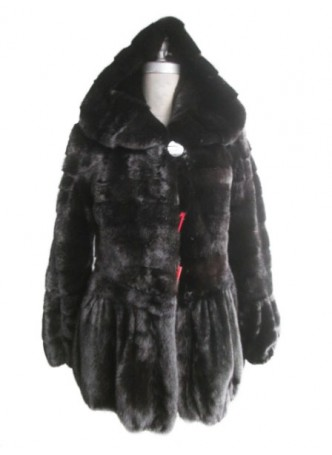 Mink Fur Black Coat Jacket with Hood Women's Female Mink Fur