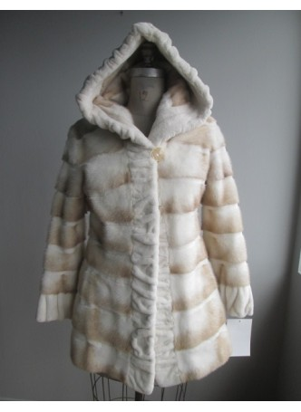 Mink Fur Coat Jacket with Hood Natural Cross Mink Women's