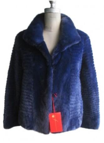 Mink Fur Coat Jacket Blue Women's