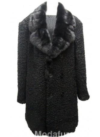 Men's Persian Lamb Fur Coat with Mink Fur Collar Black XXL