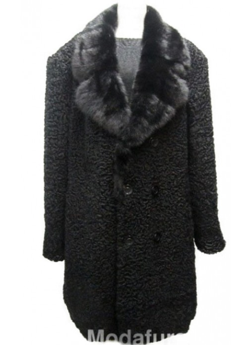 cec33cf92 Men's Persian Lamb Fur Coat with Mink Fur Collar Black XXL