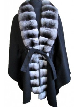 Cashmere 100%  &  Chinchilla Fur Wrap Cape Shawl Black Women's