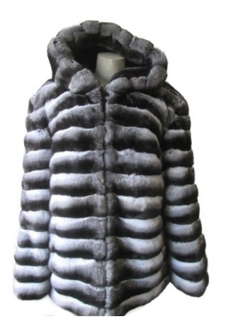 Men's Chinchilla Fur Jacket Coat For Man with Hood