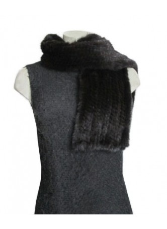 Knitted Mink Fur Scarf Black Women's