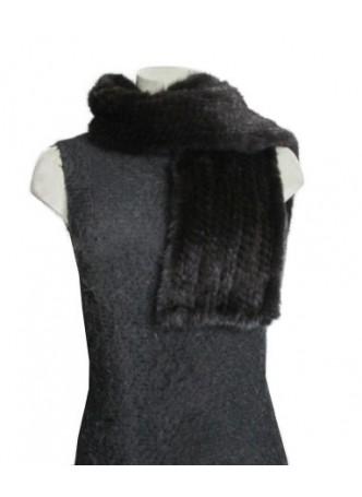 Knitted Mink Fur Scarf Black Women's