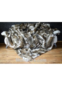 Coyote & White Fox Fur Plate Throw Blanket Bedspread Rug Home Decor