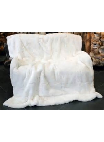 "Knitted Rex Rabbit Fur Throw Blanket Bedspread Rug White 80"" x 60"" Home Decor"