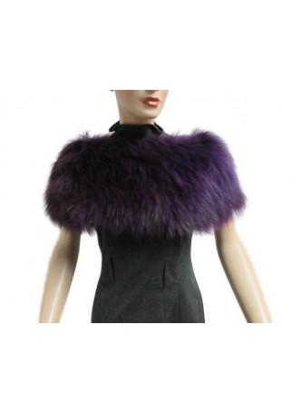 Knitted Fox Fur Purple Wrap Tube  Eternity Scarf Collar Shawl Stole Stretchable Women's