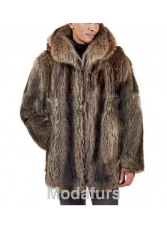 Raccoon Fur Coat Bomber Jacket Coat with Hood MAN Sz XL Men's