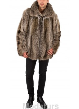 Men's  Raccoon Fur Coat Bomber Jacket Coat MAN Sz XXL
