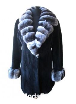 Mink Sheared Fur Coat Jacket w/ Chinchilla Fur Women's