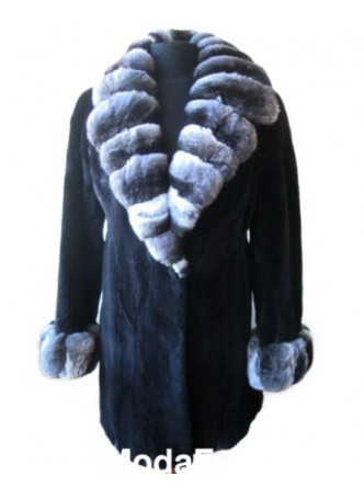 Mink Sheared Fur Coat Jacket w/ Chinchilla Fur Women's