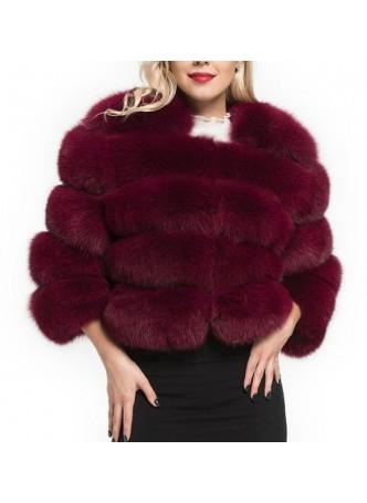 Fox Fur Jacket  Coat Cherry Red / Burgundy Bolero Women's