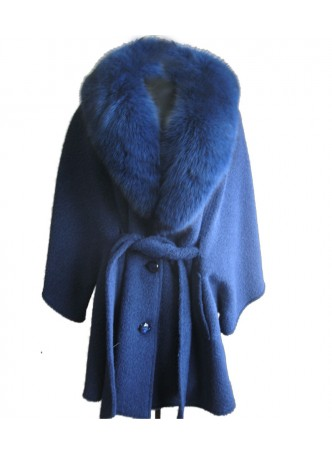 Alpaca  Wool Wrap Cape Jacket Coat Poncho with Fox Fur Trims & Hood Blue