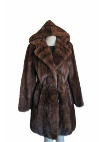 Mink Fur Coat Jacket w/ Detachable Hood Women's