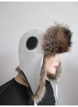 Raccoon Fur Hat w/ White Leather Aviator Trooper Women's Men's UNISEX
