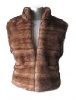 Mink Fur Vest  Women's Natural Dark Pastel