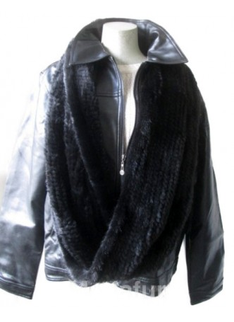 Knitted Mink Fur Wrap Tube Eternity Scarf Collar Stole Men's