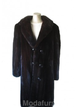 Men's Mink Fur Coat Jacket with Mink Fur Collar Natural Dark Ranch XL