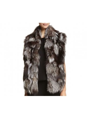 Silver Fox Fur Vest Women's