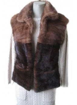 Mink Fur Vest Women's Natural Pastel and Dark Ranch