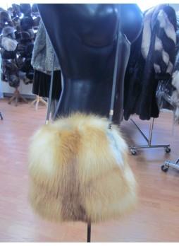 Red Natural Fox Fur Bag Purse Cross-Body Shoulder Bag Hand Muff Warmer Women's