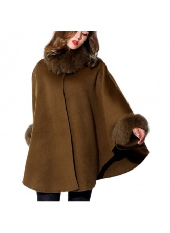 Cashmere & Wool w / Fox Fur Wrap Cape Poncho Brown Women's