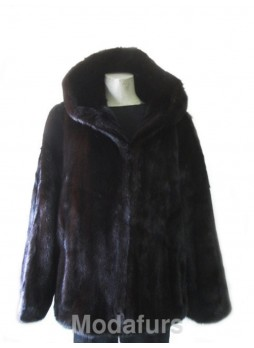 Men's Mink Fur Bomber Jacket  Coat with Hood  Man Size 42 Large  CLEARANCE SALE