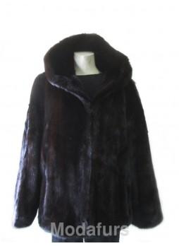 Mink Fur Jacket  Coat with Hood  Man Size 42 Large  Men's Bomber