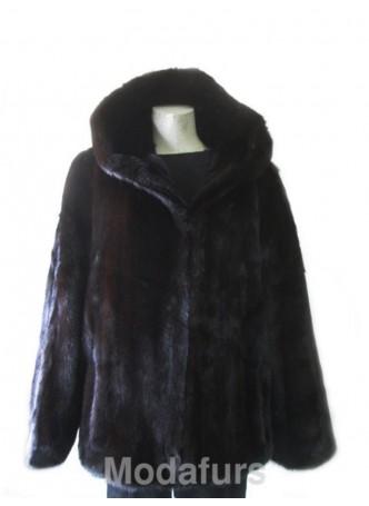 Men's Mink Fur Bomber Jacket  Coat with Hood  Man Size 42 Large  CLEARANCE SALE