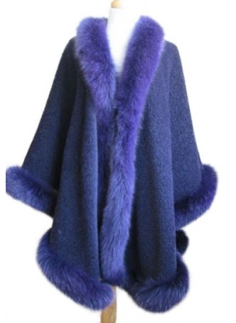 Cashmere & Wool w / Fox Fur Wrap Shawl Cape Blue Women's